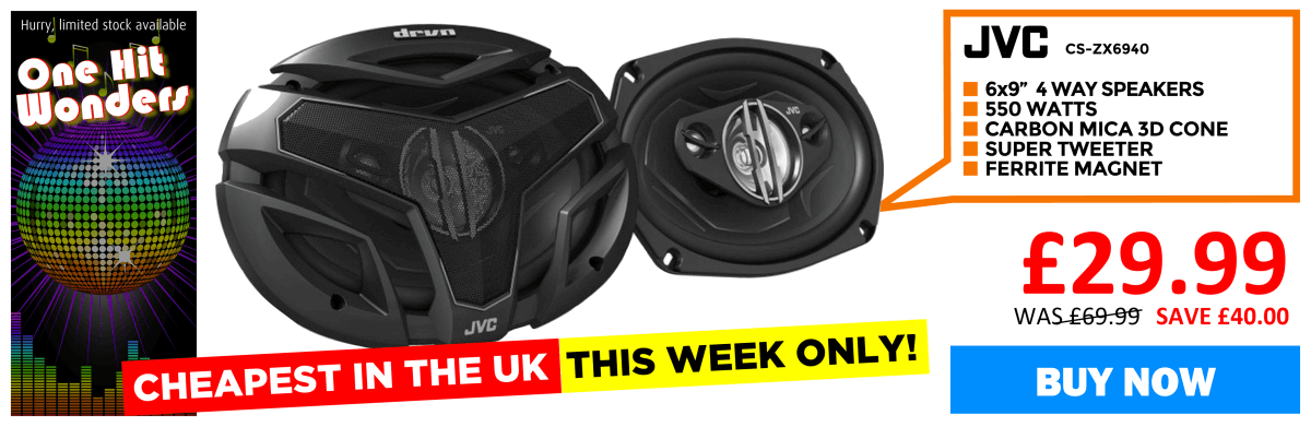 JVC CS-ZX6940 4-way 6x9 coaxial speaker system 550 watts