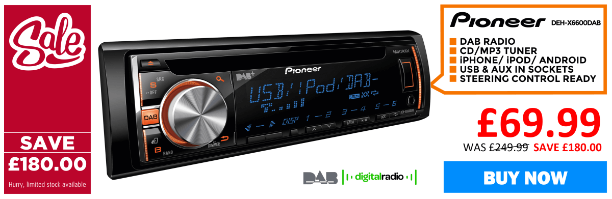 Pioneer DEH-X6600DAB Car CD DAB Stereo DAB+ Radio Android iPod iPhone Player