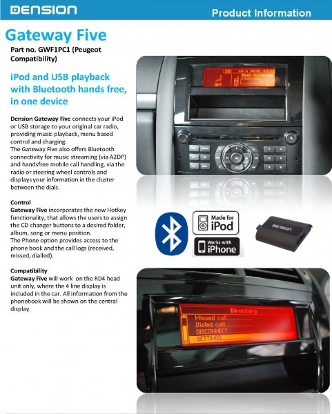 Dension Gateway Five for Peugeot iPod, USB and Bluetooth add on device