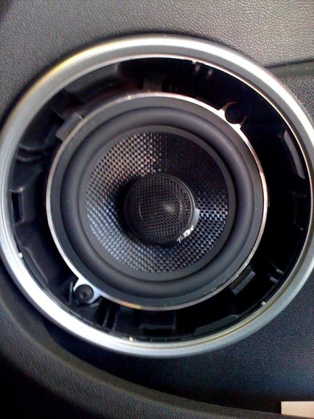 "DB Audio T-Rex 5"" coaxials fitting into a Renault Clio 2007 at Car Audio Centre Leicester"