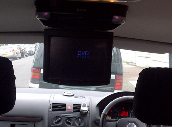 Roof mounted In Phase IVR10 Built in DVD player into a VW Toureg