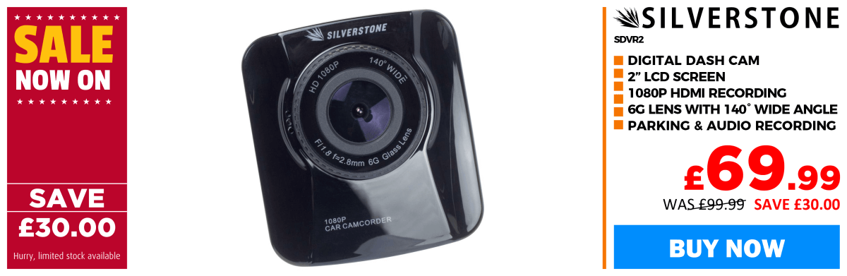 Silverstone SDVR2 Digital Dash Cam � 1080 HD Recording � 2 LCD Screen � 6G Lens
