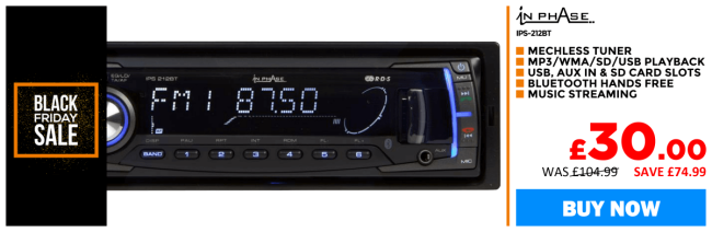 In Phase IPS-212 BT car stereo with Bluetooth and USB/SD/aux input