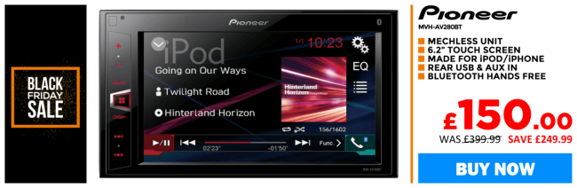 Pioneer MVH-AV280BT Mechless Double Din with Bluetooth and USB