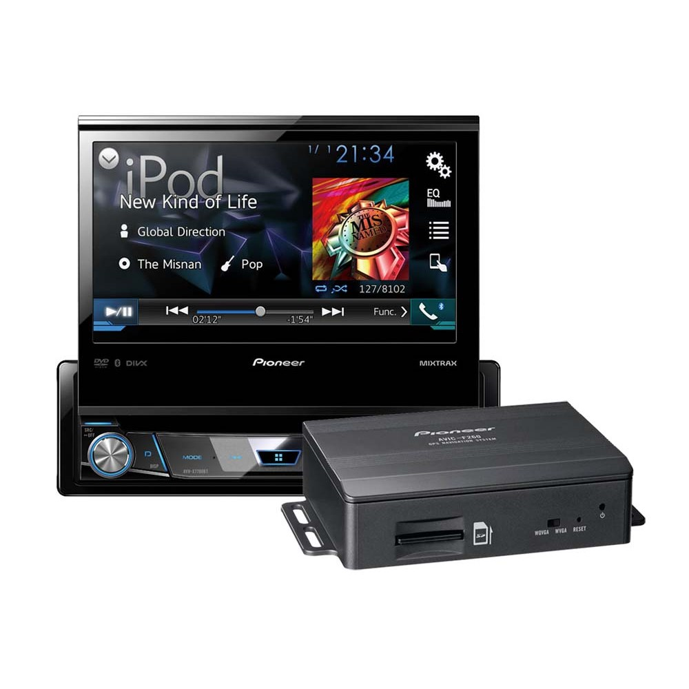 avh x7800bt single din motorised dvd av sat nav add on package. Black Bedroom Furniture Sets. Home Design Ideas