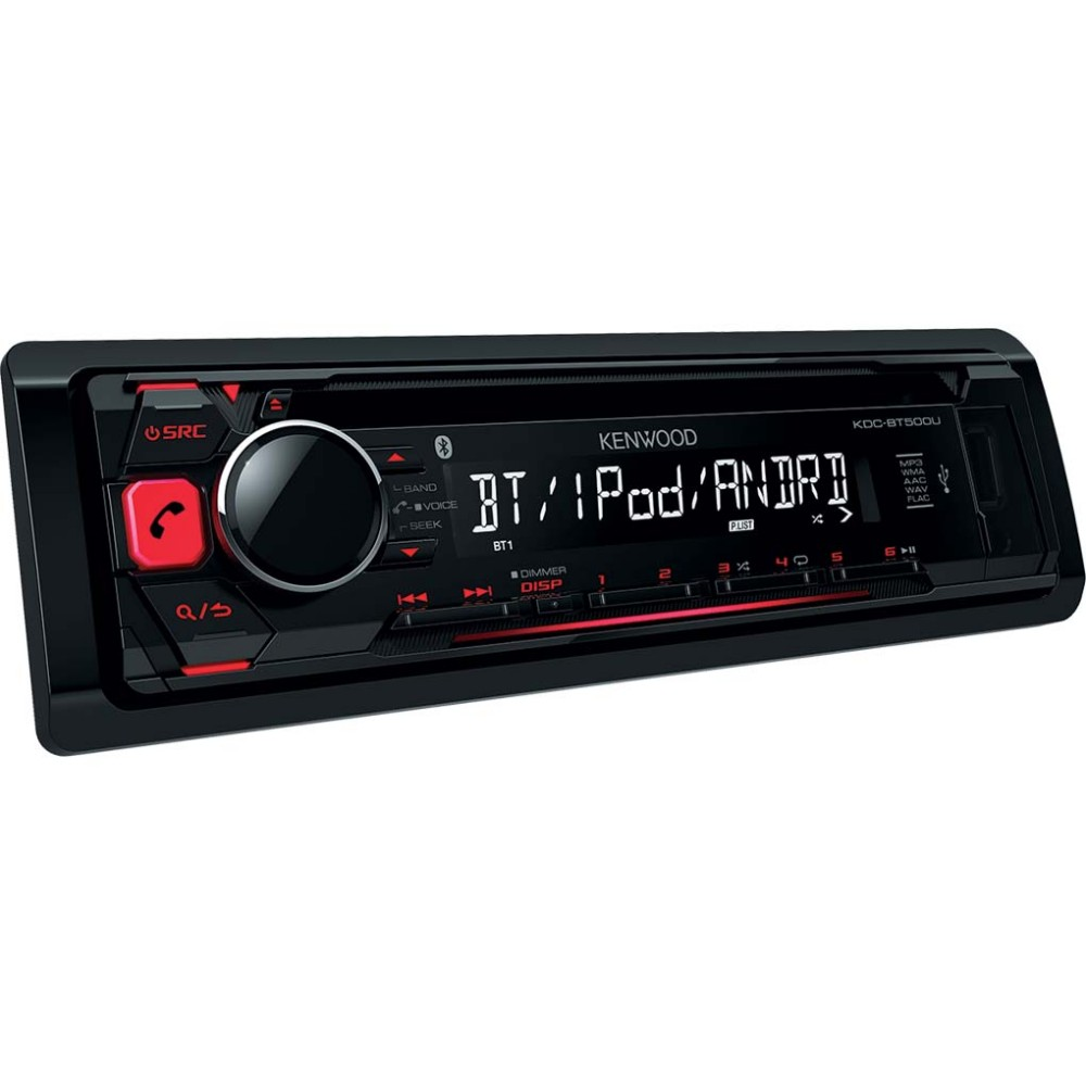 kenwood kdcbt500u cd car stereo with bluetooth usb aux in red illu. Black Bedroom Furniture Sets. Home Design Ideas