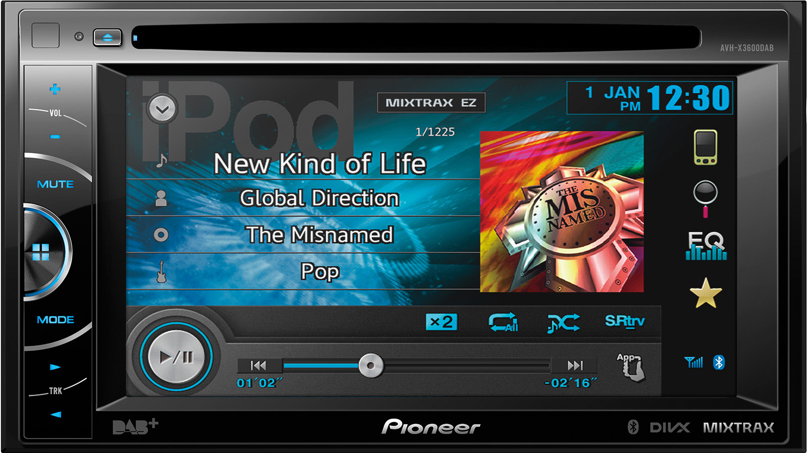 AVH-X3600DAB Double Din AV station built in DAB radio and Bl
