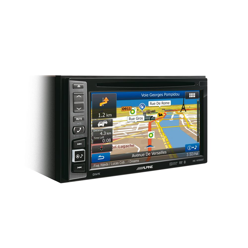alpine ine w990bt double din navigation head unit with bluetooth. Black Bedroom Furniture Sets. Home Design Ideas