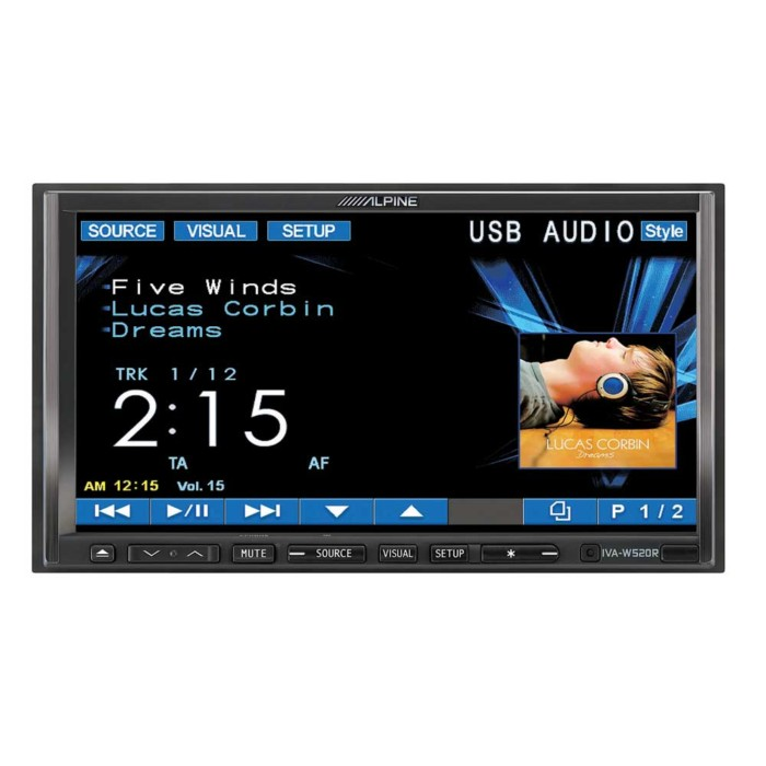 Double Din Screen Alpine Car Audio Systems IVA-W520R + KCE400BT 1