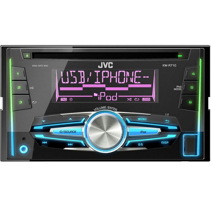kw r710 double din car stereo with front usb aux input iphon. Black Bedroom Furniture Sets. Home Design Ideas