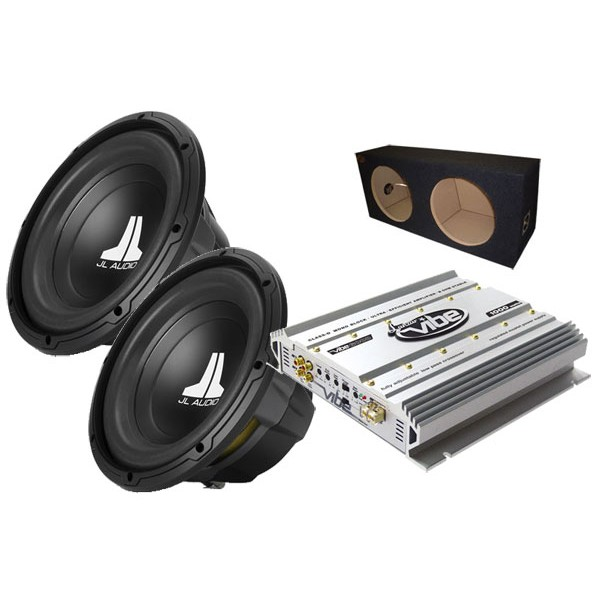 Sub and Amp Packages JL Audio 2 x JL10W0V2  VIBE600D  BX212S